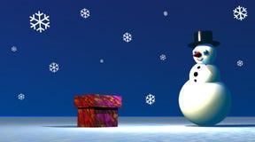 Sneeuwman die een giftdoos bekijkt Stock Afbeeldingen