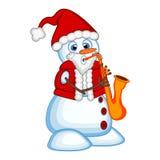 Sneeuwman die een Santa Claus-kostuum het spelen saxofoon voor uw ontwerp Vectorillustratie dragen Royalty-vrije Stock Afbeeldingen