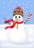 Sneeuwman die een suikergoedriet houdt. Royalty-vrije Stock Foto's