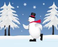 Sneeuwman die op bevroren vijver schaatst Royalty-vrije Stock Afbeelding