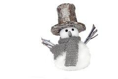 Sneeuwman die op wit wordt geïsoleerdj Stock Afbeelding