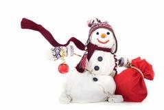 Sneeuwman die op witte achtergrond wordt geïsoleerdl royalty-vrije stock afbeeldingen