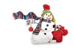Sneeuwman die op witte achtergrond wordt geïsoleerdl stock foto's