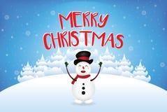 Sneeuwman die Vrolijke Kerstmis met sneeuwvalvector zeggen Royalty-vrije Stock Afbeeldingen