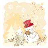 Sneeuwman die zijn neus beschermt Royalty-vrije Stock Foto's