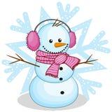 Sneeuwman in een bonthoofdtelefoons Royalty-vrije Stock Afbeelding