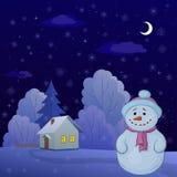Sneeuwman in een de winterbos vector illustratie