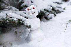 Sneeuwman in een de winterbos - Kerstmisvermaak Royalty-vrije Stock Foto's