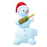 Sneeuwman in een rood-wit GLB, met een champagnefles in handen Stock Afbeelding