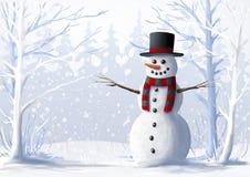 Sneeuwman in een snow-covered bos de Winterillustratie Kerstmis en de wintervakantie Stock Afbeeldingen