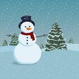 Sneeuwman en bomen Royalty-vrije Stock Afbeelding