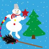 Sneeuwman en boom Stock Afbeeldingen