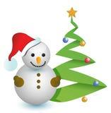 Sneeuwman en de illustratieontwerp van de Kerstmisboom Royalty-vrije Stock Afbeelding