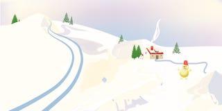 Sneeuwman en de winterplattelandshuisjes Royalty-vrije Stock Foto's