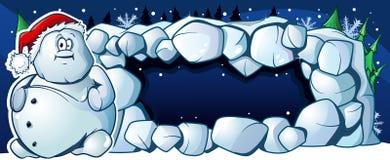 Sneeuwman en een sneeuwhol Royalty-vrije Stock Fotografie