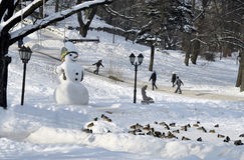 Sneeuwman en het drijven van kinderen in het park Royalty-vrije Stock Foto's