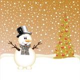 Sneeuwman en Kerstboom Stock Foto