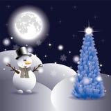 Sneeuwman en Kerstboom Stock Afbeeldingen