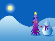 Sneeuwman en Kerstboom royalty-vrije illustratie