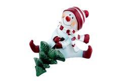 Sneeuwman en Kerstboom Royalty-vrije Stock Afbeeldingen