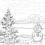 Sneeuwman en Kerstboom, contouren Stock Foto's