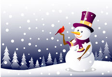 Sneeuwman en Kerstmisvogels Royalty-vrije Illustratie