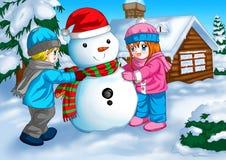 Sneeuwman en Kinderen Stock Fotografie
