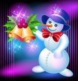 Sneeuwman en klokken Royalty-vrije Stock Foto's