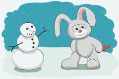 Sneeuwman en konijntje vector illustratie