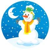 Sneeuwman en Maan royalty-vrije illustratie