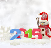 Sneeuwman en nieuw jaar 2015 Stock Afbeeldingen