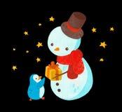 Sneeuwman en pinguïn met nieuw aanwezig jaar stock illustratie