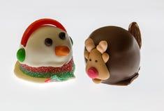 Sneeuwman en Rudolph royalty-vrije stock fotografie