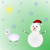 Sneeuwman en schapenkerstmisillustratie Stock Foto's