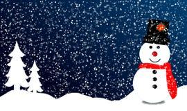 Sneeuwman en sneeuw gevallen in de winter van Kerstmis Royalty-vrije Stock Afbeelding