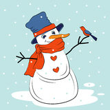 Sneeuwman en vogel geïsoleerde vectorillustratie Royalty-vrije Stock Afbeeldingen
