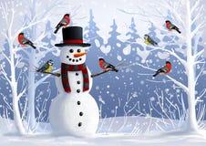 Sneeuwman en vogels in de snow-covered bosgoudvink en mees de winterillustratie Kerstmis en de wintervakantie Stock Afbeelding