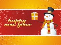 Sneeuwman. Gelukkig Nieuwjaar! Stock Foto's