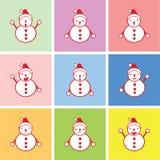 Sneeuwman grafisch in vele emoties Stock Foto