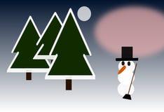 Sneeuwman in het Hout tussen Maneschijn en Zonsondergang royalty-vrije illustratie