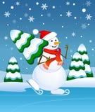 Sneeuwman het schaatsen Vector Illustratie