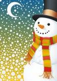 Sneeuwman in het sneeuwen hight vector illustratie