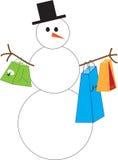 Sneeuwman het winkelen Royalty-vrije Stock Afbeeldingen