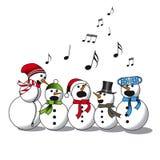 Sneeuwman het zingen - koor vector illustratie