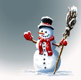 Sneeuwman in hoed met bezem De illustraties van de winterkerstmis Royalty-vrije Stock Afbeeldingen