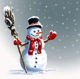 Sneeuwman in hoed met bezem De illustraties van de winterkerstmis Royalty-vrije Stock Fotografie
