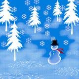 Sneeuwman in hoogste-hoed Royalty-vrije Stock Foto's