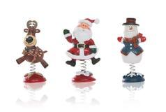 Sneeuwman, Kerstman, en Rendier Stock Foto