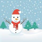 Sneeuwman Kerstmis, vector stock illustratie
