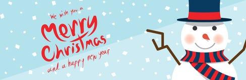 Sneeuwman (Kerstmisbanners) Stock Afbeelding